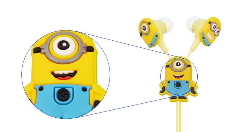 Despicable Me Minions Cartoon In-ear Wired 3.5 mm Earphone for MP3 MP4 Mobile Phone With Earplug Cover EP338