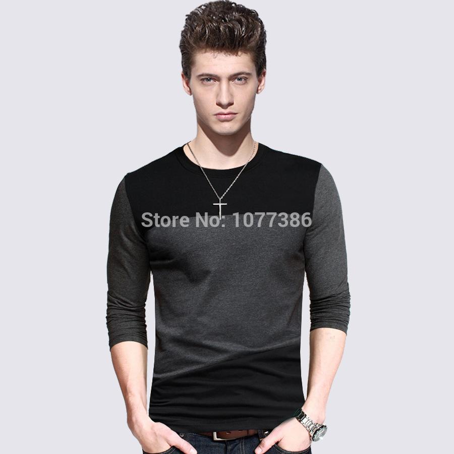2015 Special Offer Rushed Fashion Full Tshirt Men's Long T Shirt,hot T-shirts Shirts Slim-fit Shirt Camisas 100% Cotton Shirts!(China (Mainland))