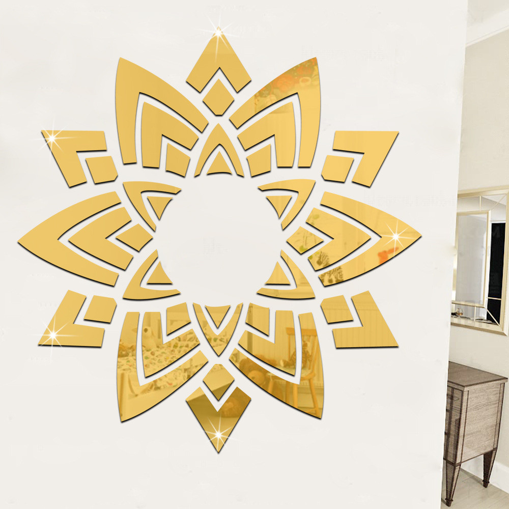 Mirror Wall Stickers Bedroom Living Room Ceilin Decoration Flowers ...