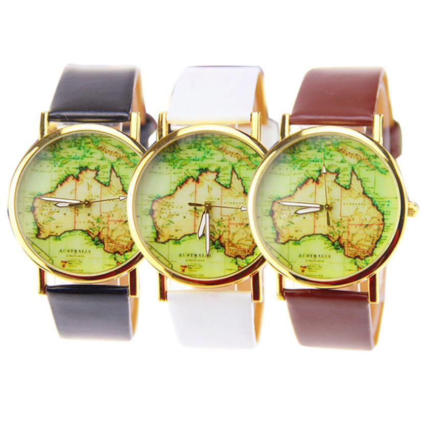 Hot Marketing Womens Australia Map Leather Alloy Band Analog Quartz Wrist Watch MAY18(China (Mainland))