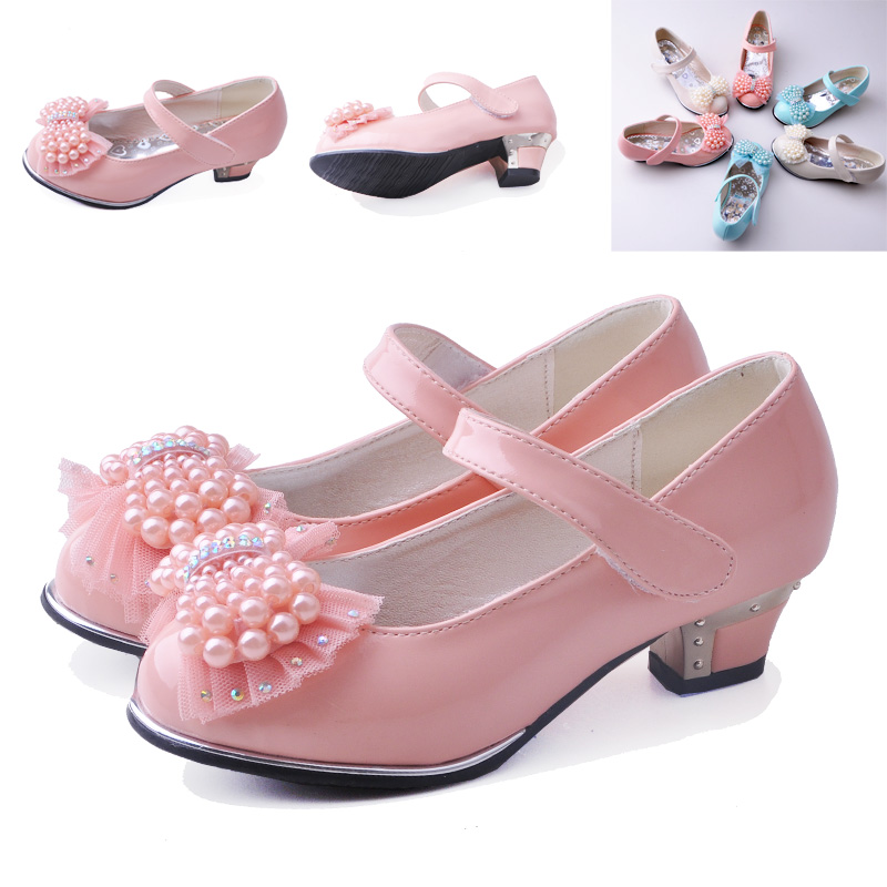 Child female high-heeled shoes pearl bow leather princess single shoes sandals Latin dance shoes female child magic posted shoes(China (Mainland))