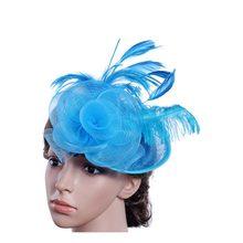 2019 ราคาถูกผู้หญิงหมวกดอกไม้ Rose สีแดงเจ้าสาวของขวัญ Veil ผมหวีเจ้าสาวเพิร์ลหมวกและ fascinators(China)