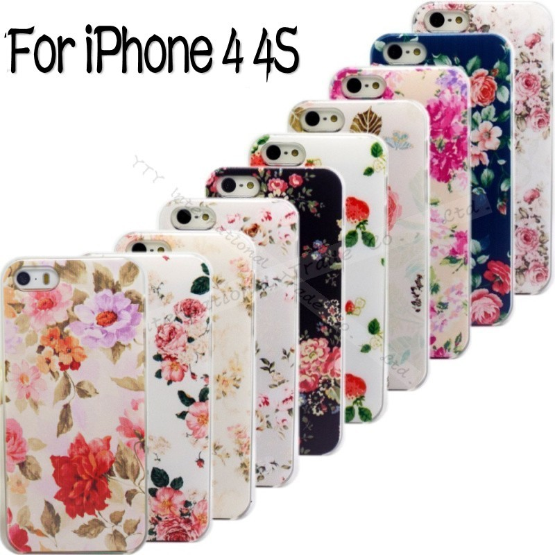 4/4S New Shell Apple iPhone 4 4S 4G iPhone4S iPhone4 Back Case Cover Printing Flower Floral Cell Phone Cases 2016 Newest Hot - Mobile Accessories/Case And Mp3 Store store