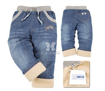 CP057 Freeshipping high quality 1pcs thick KK-RABBIT warm cashmere boy jeans new style children pants fashion kid clothes retail