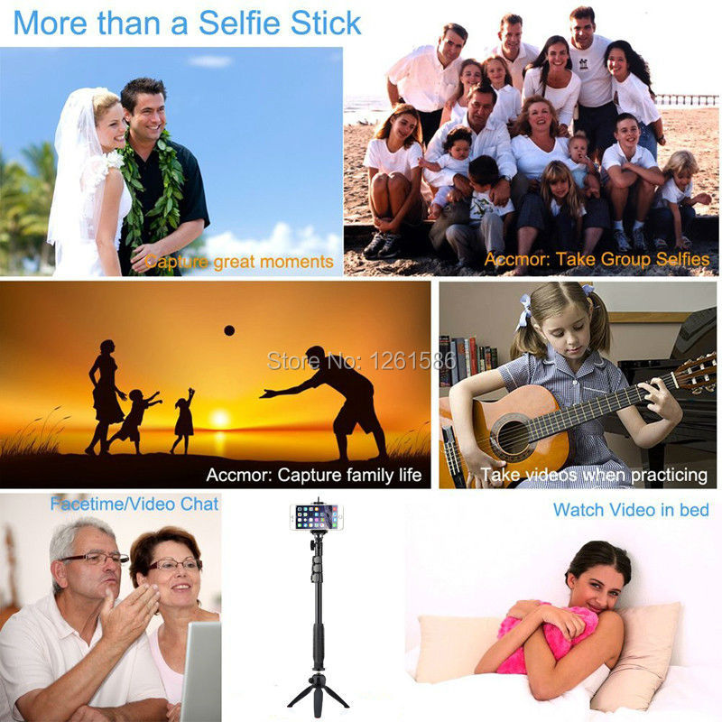 Bluetooth Selfie Stick GoPro Monopod with Tripod Stand for iPhone and Android (Hot Pink) (2)