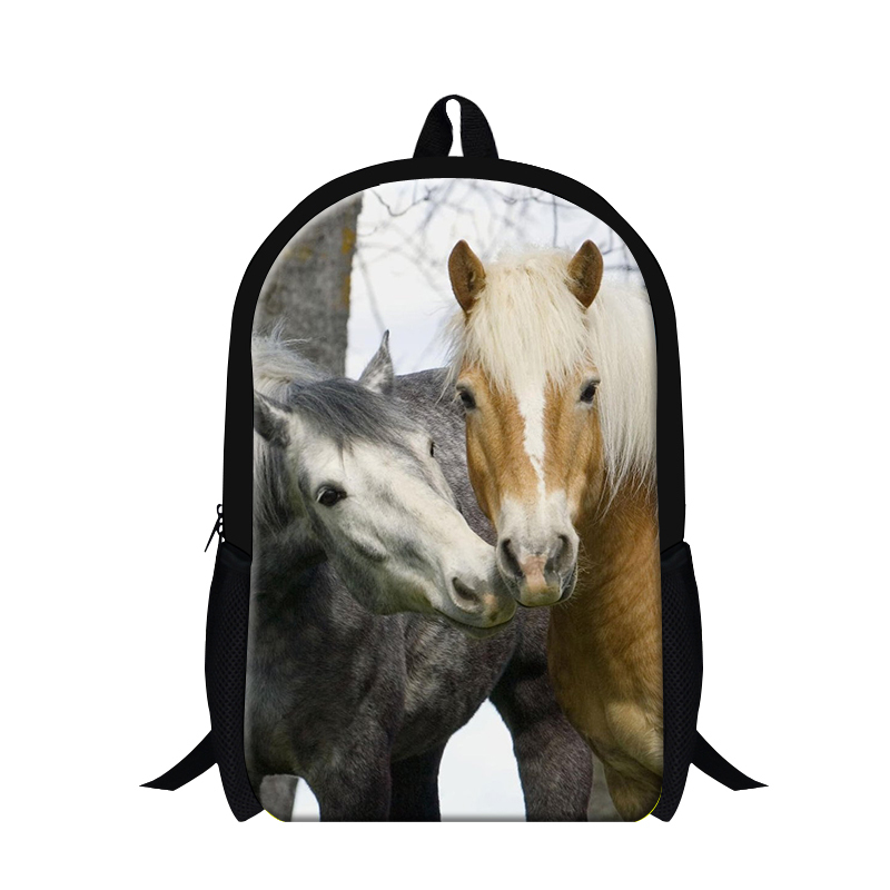 Fashionable horse 3D print mens backpack,Plush horse back pack for boys,cool bookbags for teenager,stylish hiking bag traveling(China (Mainland))