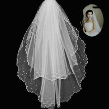 Wedding Accessories Short Bridal Veils with Pearl Layers Birdcage veil White Ivory Mantilla Wedding Veil(China (Mainland))