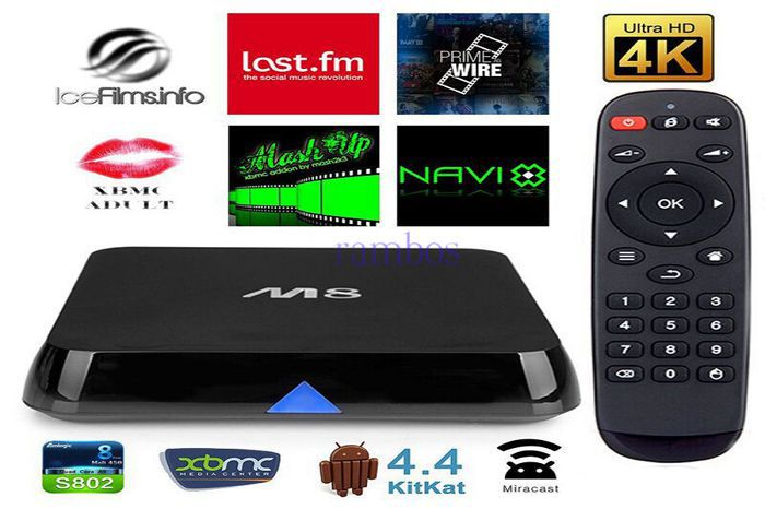 M8 TV BOX Amlogic S802 Quad Core Cortex A9 2.4G/5G Dual Band Android 4.4 Smart TV Box XBMC Bluetooth Media Player 4K HDMI(China (Mainland))