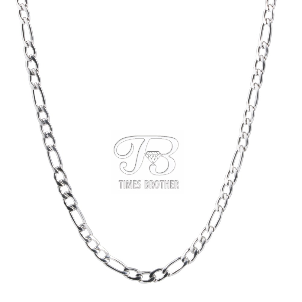 4mm Width New Figaro Chain Stainless Steel Necklace for Men and Women(China (Mainland))