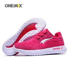 ONEMIX Woman Running Shoes For Women Fashion Retro Suede Run Athletic Trainers Rose PigSkin Sports Shoe Outdoor Walking Sneakers