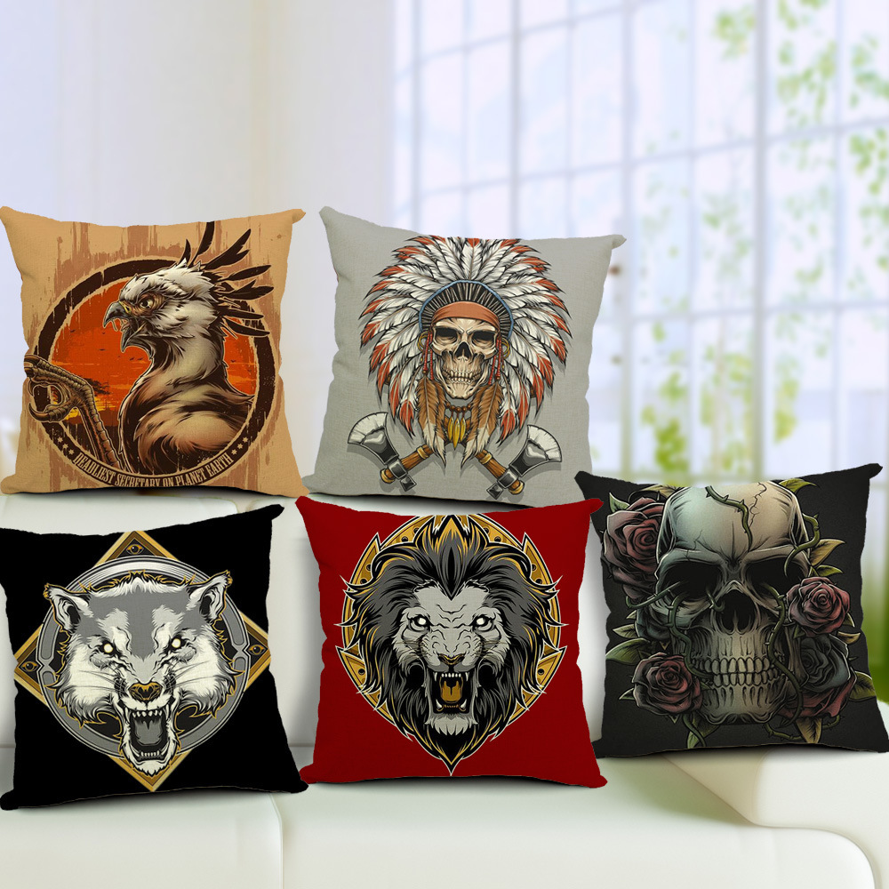 Rectangle Skull Vintage Style Sofa Cushion Covers Bedding Pillow Case Home Decoration Cotton Linen 45*45cm