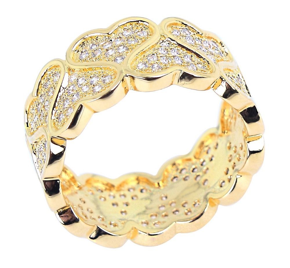 New arrival jewelry 2014 Latest Design Hearts Pattern Wedding Rings AAA Machine Cutting Cubic Zirconia White Color Ring(China (Mainland))
