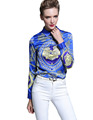 Fashion Europen Spring Sexy Silk Blouse Women Satin Print Shirt Women Fashion Long Sleeve Harajuku Blusas Women New Brand Tops