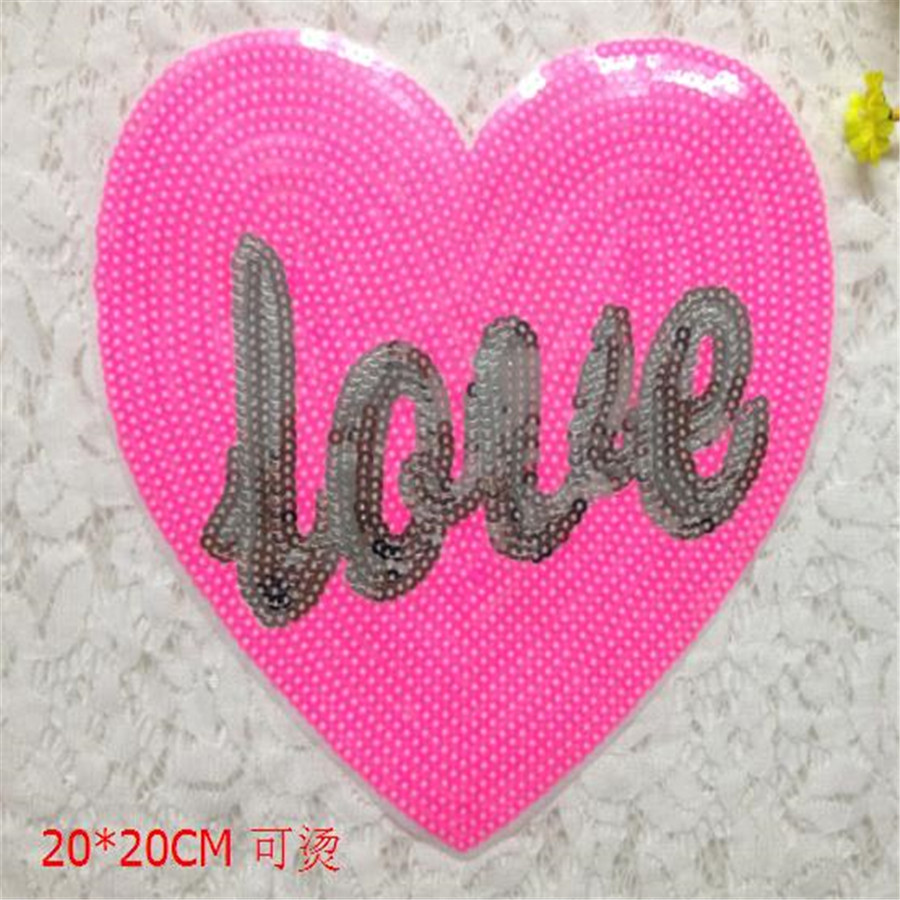 Fashion Clothes Sequins Embroidery Patch For Clothing T-shirt Sewing Biker Patches Love Heart Pink Logo Free Shipping(China (Mainland))
