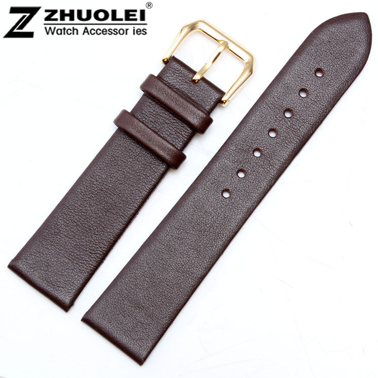 18mm Watch band genuine leather watchband Ultrathin Brown Stainless Steel Leather Strap Free Shipping<br><br>Aliexpress