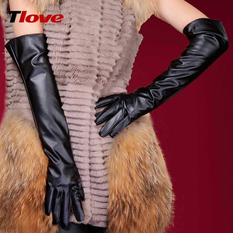 women's long leather MITTENS winter 50cm women's gloveS arm sleeve 2pairs one lot(China (Mainland))