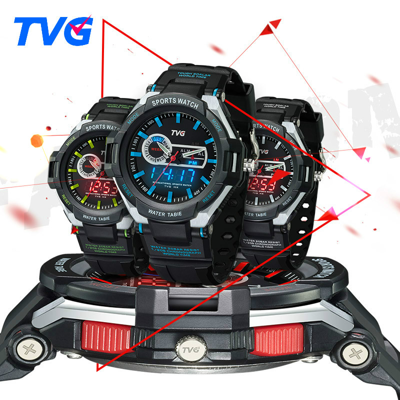 TVG Brand Analog Digital Display Wristwatch children sports cartoon LED watch electronic alarm clock waterproof for kids gift(China (Mainland))