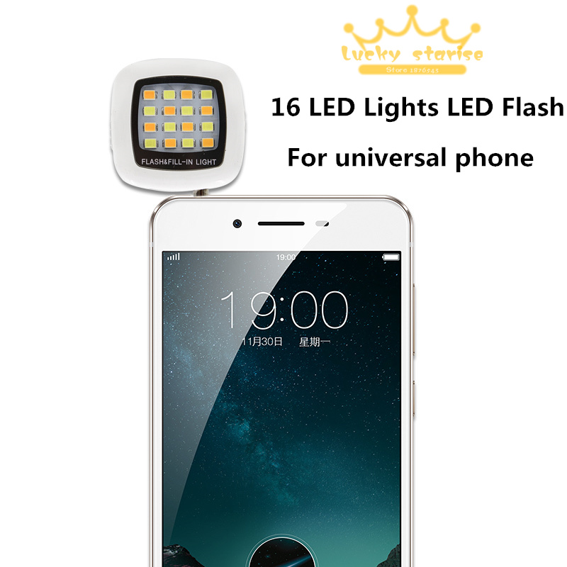 New Portable Spotlight Smartphone Phone Selfie Mini 16 LED Camera Flash Fill-in Light For IOS Android iphone 6 5 4 samsung htc(China (Mainland))