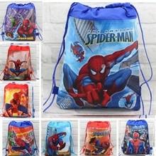20pc/lot cartoon Spiderman children school bags Cartoon Drawstring bag mohila shopping bag beach birthday party bag CC11.1(China (Mainland))
