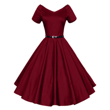 2016 Womens Summer Sexy V-Neck Party Dresses 50s 60s Vintage Retro Style Ladies Rockabilly Swing Red Black Blue Sweetheart Dress(China (Mainland))