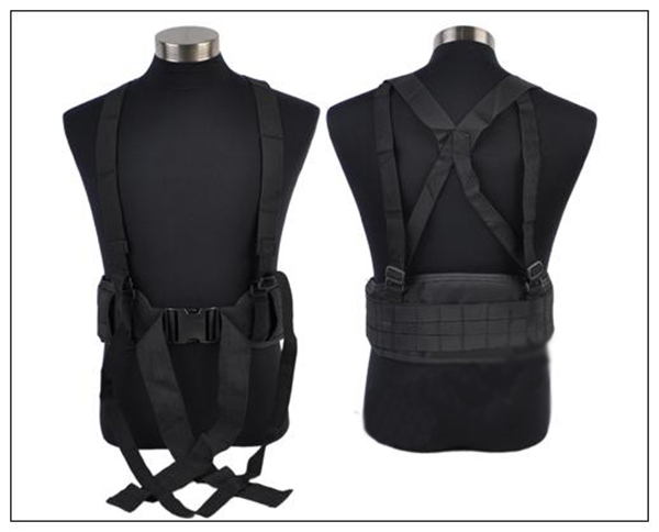 Airsoft Molle Tactical Combat Waist Padded Belt H-shaped Suspender Adjustable Nylon Cummerbunds - Uniform Club store