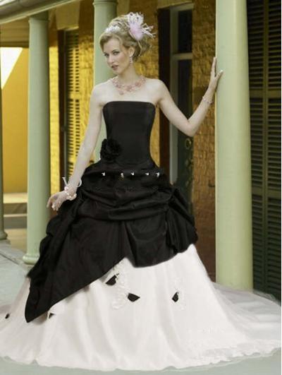 schwarzen und weißen gothic brautkleider sexy burg braut brautkleid ...