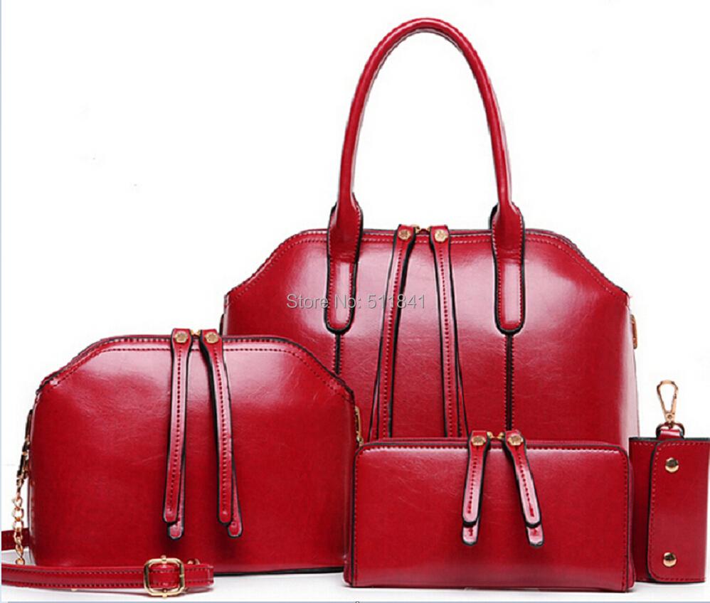 Fashion New Arrival Wax oiled Genuine leather Bag Women Handbag Shoulder Crossbody Bag Handbag+Messenger Bag+Purse+Wallet 4 sets(China (Mainland))