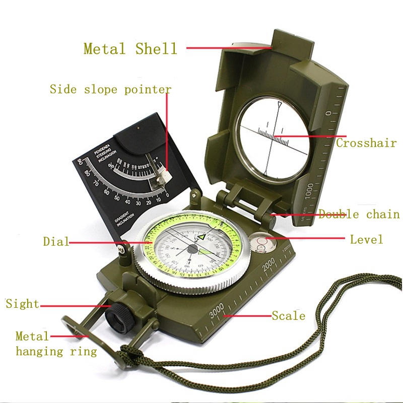 2016 New Army green color American Multifunctional Luminous handheld compass with ruler level outdoor car compass(China (Mainland))