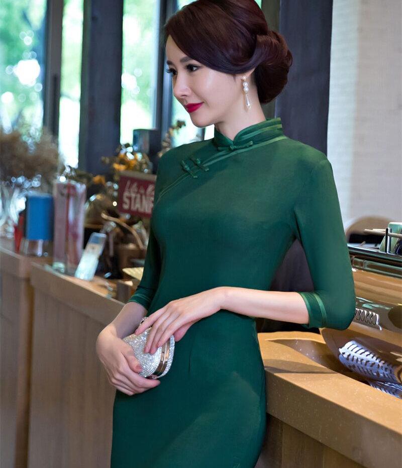 New Arrival Fashion Silk Satin Cheongsam Chinese Women's Mini Dress Elegant Qipao Vestidos Size S M L XL XXL C27400