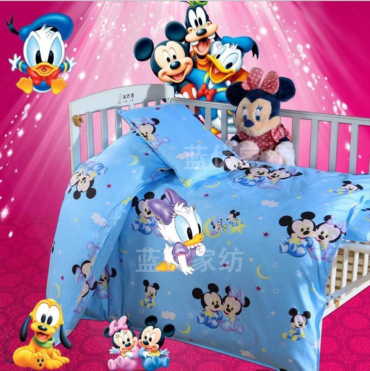 Promotion 3pcs Mickey Mouse Duvet Cover Sheet Pillow