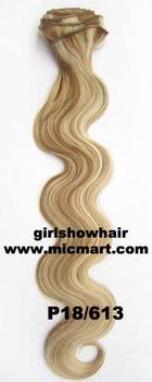 1set heat resistance synthetic fibre clip in on hair extension body wavy 12pcs/set  130grams P18/613