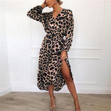Abito di leopardo 2019 Dell'annata Delle Donne di Long Beach Del Vestito Allentato Manica Lunga Profondo Scollo A V Una Linea di Sexy Del Vestito Da Partito Vestidos de fiesta(China)