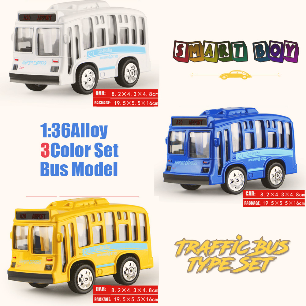 1:36 Alloy Toy Vehicles all 3color Set Traffic Bus Model Alloy Lighting sound Toy Metal Car Toy Model Mini Pull Back bus(China (Mainland))