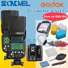 Buy Free DHL 2x Godox V860II-C V860IIC Speedlite GN60 HSS 1/8000s TTL Flash Light +X1T-C Wireless Transmitter Canon +10 Gift Kit for $444.22 in AliExpress store