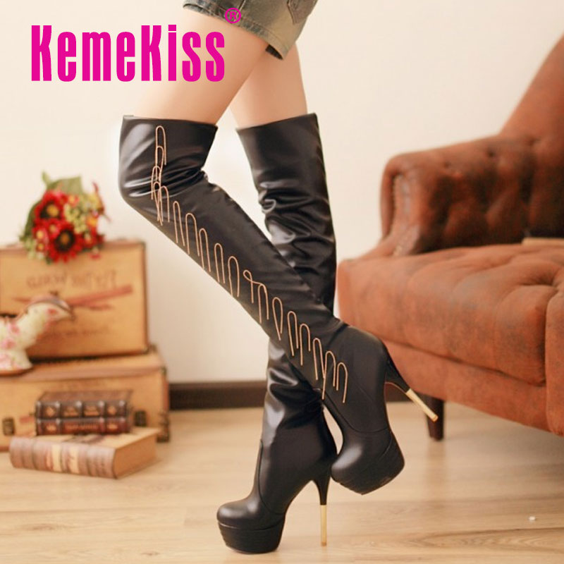 CooLcept Free Shipping Over Knee Half High Heel Boots Women Snow