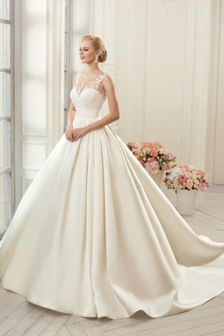 Gelinlik 2015 luxury wedding dresses satin scalloped court for Wedding dresses no train