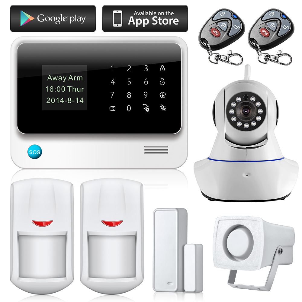 wifi alarme maison wireless gsm home security alarm system ios android control with ip camera. Black Bedroom Furniture Sets. Home Design Ideas
