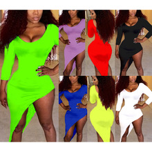 7 Colors Plus size S~XXL 2015 Summer Fashion Women Sexy Long Sleeve Dress Sexy Club O-Neck Dresses bandage Bodycon party dress(China (Mainland))