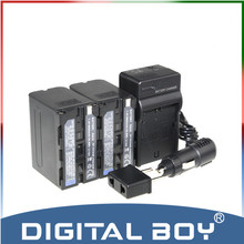 Digital Boy (4pcs/1set) 2x NP-F970 NP F970 NPF970 6600mAh li-ion Battery+Charger+Car Charger For Sony NP-F960 NP-F950 NP-F930 z1