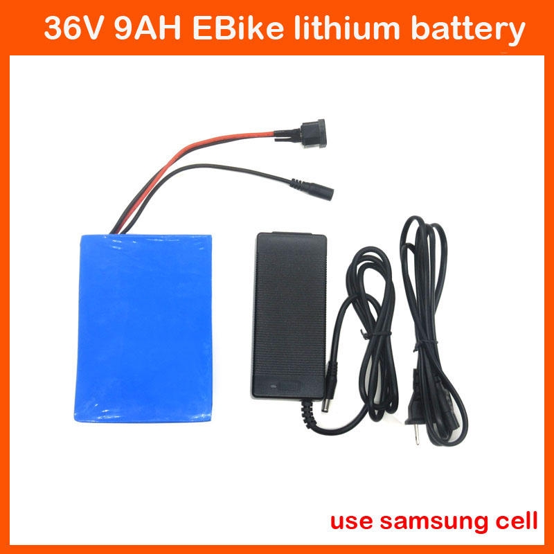 Europe no tax 36V 500W Electric Bike battery 36V 9AH lithium battery 36V Use samsung cell with PVC case BMS 42V 2A charger(China (Mainland))