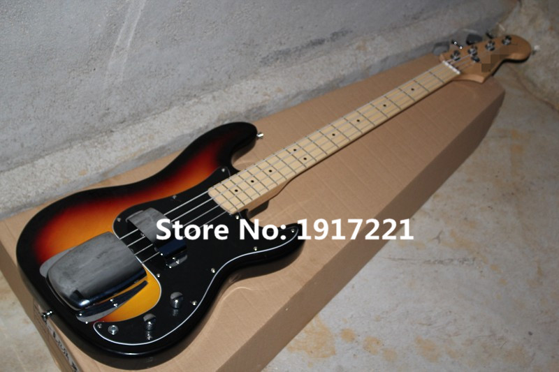 4-String Tobacco Sunburst Electric Bass,2 Protective Cover,Black Pickgaurd,Dot Fret Marks Inlay,Maple Neck and can be Changed(China (Mainland))