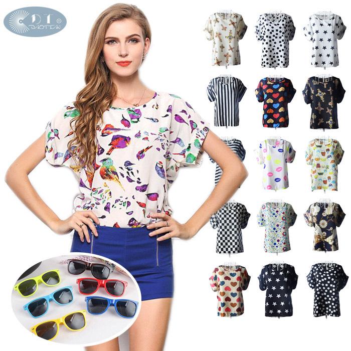 SEND GIFT,New 2015 Summer Women Print Chiffon Blouse Shirt Vintage Birds/Dot/Heart Printed Batwing Short Sleeve T Shirts Tops(China (Mainland))