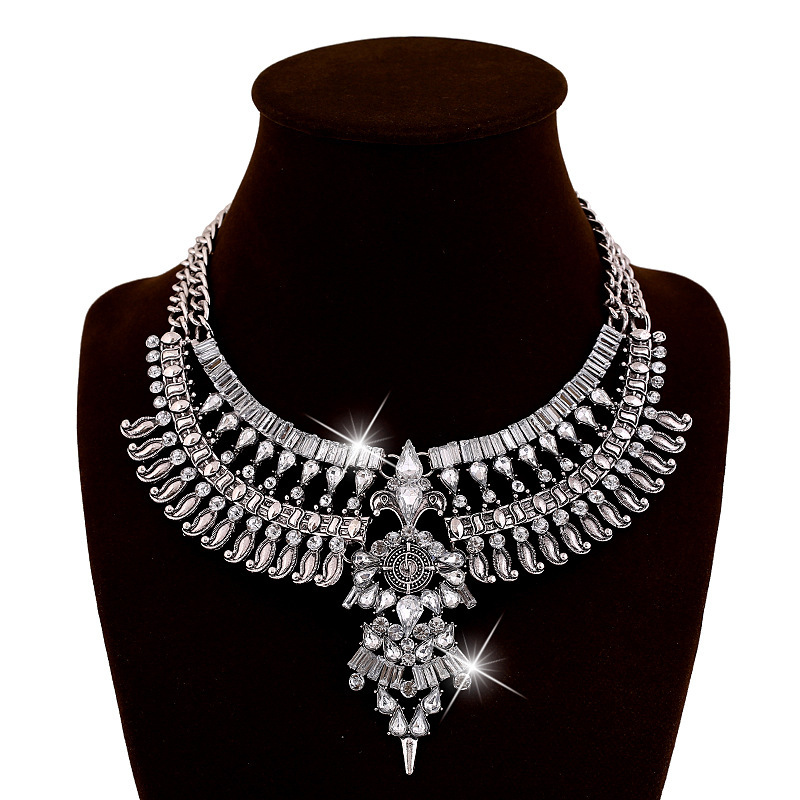 2015 Vintage Boho Chunky Choker Necklaces Fashion Accessories Silver Turkish Statement Necklace Indian jewelry(China (Mainland))
