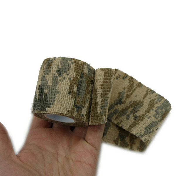 Camping Hunting Camouflage Stealth Tape Self Adhesive Camo Army Stretch Bandage Bike Camera Decor(China (Mainland))