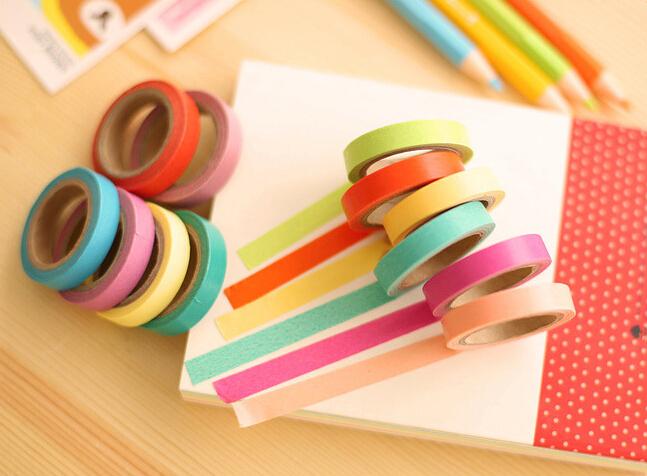 10X Candy Solid DIY Craft Decorative Scotch Adhesive Tape Washi Sticker Scrapbooking Adesivos Fita Adesiva Stationery  Papeleria<br><br>Aliexpress