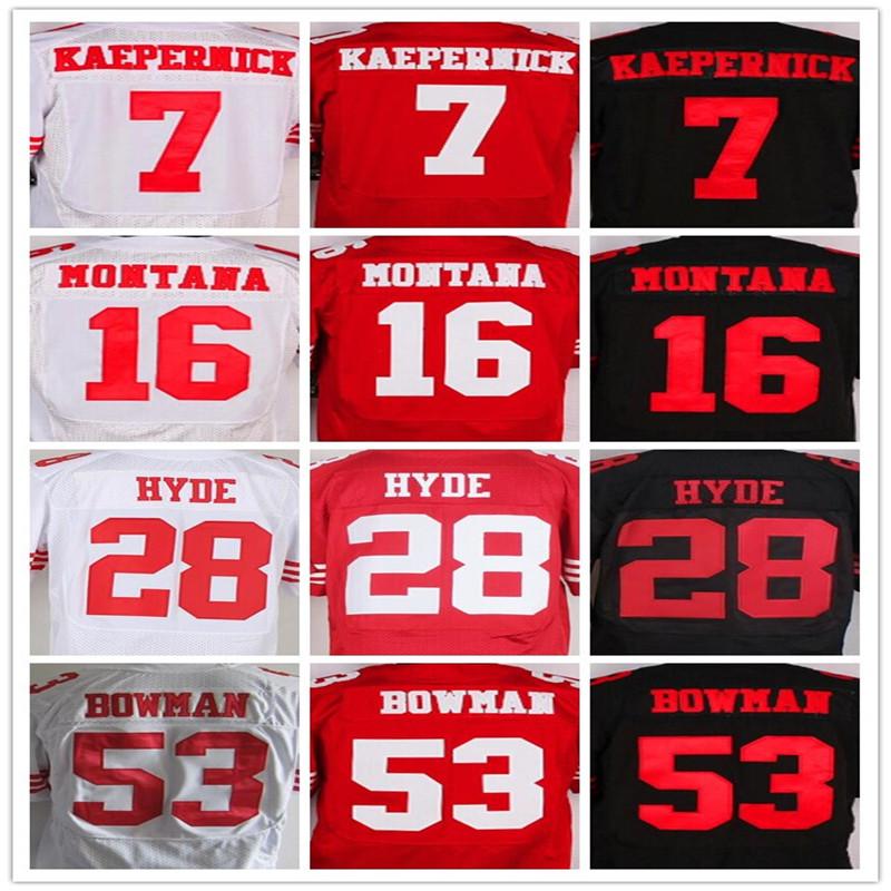 Good quality,Men's 7 Colin Kaepernick 16 Joe Montana 35 Eric Reid 53 NaVorro Bowman 80 Jerry Rice elite jerseys,White,Red,Black(China (Mainland))
