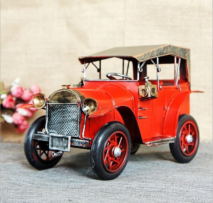 Retro nostalgic tin classic cars model metal crafts photography Tool Bar Cafe Retro Decoration home away gift
