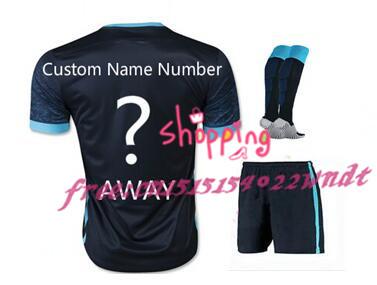 2016 Embroidery 15 3 stars City 2RD AGUERO SILVA MAN STERLING TOURE YAYA Football Kit+socks Away Men Shirt Soccer Jersey<br><br>Aliexpress