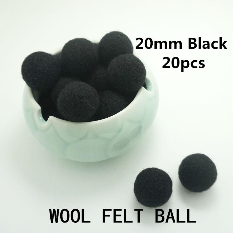 Christmas Garland 2handmade needle felt 100% Wool Felt Balls 20mm Color Black - YASU store