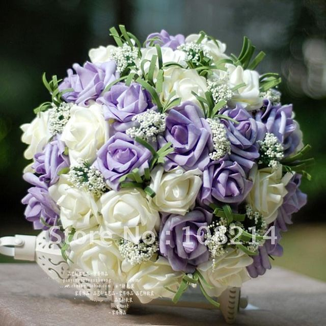Light purple 15+White 15 PU Rose wedding flowers+pearl Bouquet for bridal,Cheap price